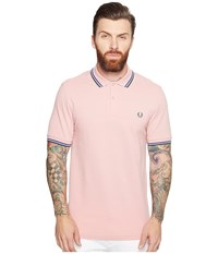 Fred Perry Twin Tipped Shirt Chalk Regal Dark Teal Men's Short Sleeve Knit Pink