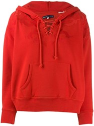 Levi's Lace Up Neck Hoodie Red