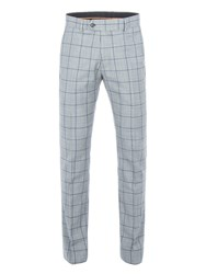 Gibson Men's Grey With Blue Overcheck Trousers Grey