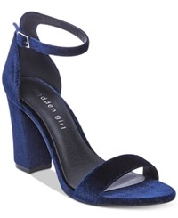Madden Girl Bella Two Piece Block Heel Sandals Women's Shoes Navy Velvet