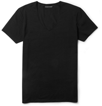 Derek Rose Jack Pima Cotton Blend V Neck T Shirt Black