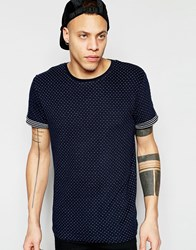 D Struct Jacquard Knit Dot T Shirt Navy