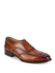 Di Bianco Stacked Heel Leather Oxfords Miele