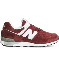 New Balance 576 Low Top Suede Trainers Burgundy White Miuk