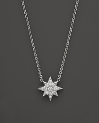 Bloomingdale's Diamond Star Pendant Necklace In 14K White Gold .20 Ct. T.W.