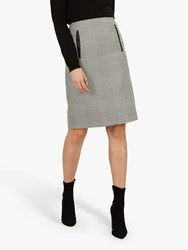 Jaeger Prince Of Wales Pencil Skirt Black White Check