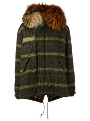 Mr And Mrs Italy Hooded Striped Parka Coat Green