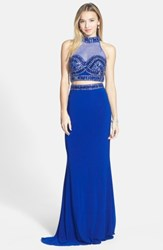 Faviana 'S Embellished Two Piece Jersey Gown