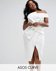 Asos Curve Scuba Origami Bow Front Dress White