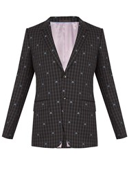 Gucci Bee Embroidered Single Breasted Wool Suit Grey Multi