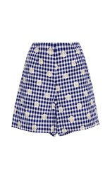 Whit Japanese Woven Gingham Jigsaw Short Blue