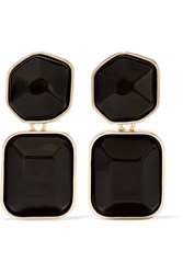 Kenneth Jay Lane Gold Plated Stone Clip Earrings Black
