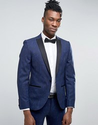 Noose And Monkey Super Skinny Tuxedo Suit Jacket In Paisley Blue