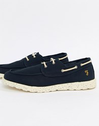 Farah Clegg Canvas Boat Shoes In Navy