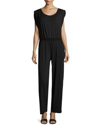 Max Studio Jersey Scoop Neck Jumpsuit Black