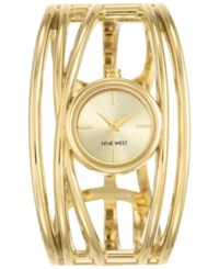 Nine West Women's Gold Tone Open Bangle Bracelet Watch 22Mm Nw 1974Chgb Light Champagne