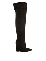 Saint Laurent Over The Knee Suede Wedge Boots