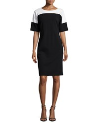 Lafayette 148 New York Kimono Sleeve Colorblock Dress Black White