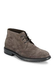 A. Testoni Soft Suede Ankle Boots Carbon