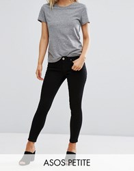 Asos Petite Whitby Low Rise Skinny Jeans In Clean Black Black