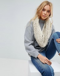 French Connection Chunky Knitted Winter Scarf Oatmeal Cream