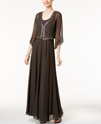J Kara Beaded Gown And Angel Sleeve Jacket Slate