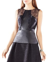 Bcbgmaxazria Laine Lace Faux Leather Peplum Top Black