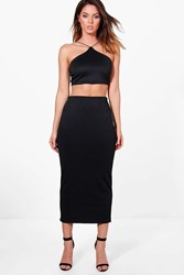 Boohoo Safia Strappy Scuba Crop And Midaxi Skirt Co Ord Black