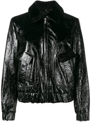 Ganni Rose Embroidered Bomber Jacket Black