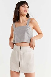 Urban Outfitters Uo Zipper A Line Mini Skirt Ivory