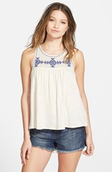 Volcom 'Side Note' Embroidered Tank Bone