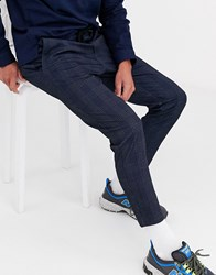 Only And Sons Check Smart Jersey Pants In Navy