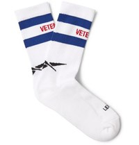 Vetements Reebok Logo Intarsia Stretch Cotton Blend Socks White