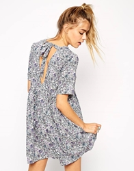 Asos Reclaimed Vintage Smock Dress In Floral Print With Tie Back Multi