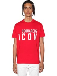 Dsquared Printed Icon Logo Cotton Jersey T Shirt Red