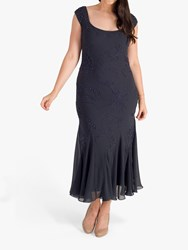 Chesca Beaded And Embroidered Dress Pewter
