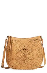 Elle And Jae Gypset Cutwork Faux Leather Crossbody Hobo Brown Saddle