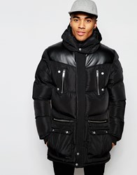 Eclipse Pu Trim Parka Jacket Black