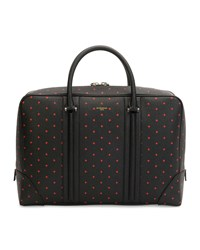 Cross Patterned Leather Briefcase Black Red Givenchy