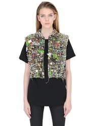 Patricia Field Art Fashion Stud Muffin Traveler Studded Denim Vest