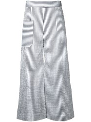 Eudon Choi Striped Cropped Trousers Blue