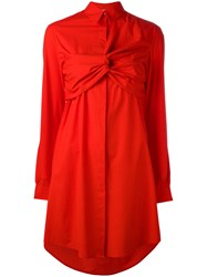 Msgm Crossed Front Shirt Dress Red