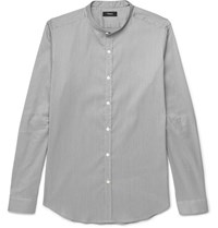 Theory Zack Slim Fit Grandad Collar Striped Stretch Cotton Blend Shirt Gray