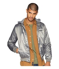 Members Only Twill Bomber Jacket W Hood Charcoal Coat Gray