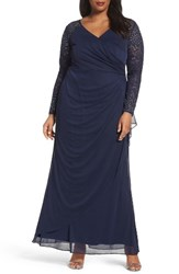 Alex Evenings Plus Size Women's Embellished Sleeve Gown Navy