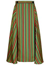 Marco De Vincenzo Multi Stripe Silk Midi Skirt Green