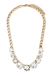 Forever 21 Faux Gemstone Statement Necklace Antic Gold Clear