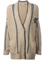 Brunello Cucinelli Embellished Pocket Cardigan Nude Neutrals