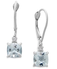 Macy's Aquamarine 1 3 4 Ct. Tw. And Diamond Accent Earrings In 14K White Gold Blue