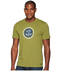Life Is Good Lig Coin Crusher Tee Heather Tree Green T Shirt Olive